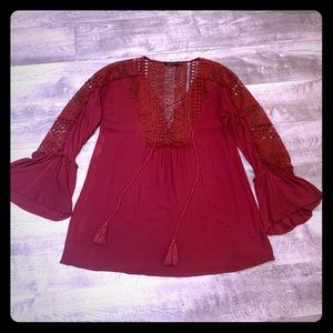 Burgundy Bell Sleeve Top size S